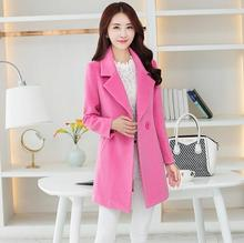 New autumn Winter Women Fashion Coat Long sleeve Wool Coat Loose Warm Woolen Outerwear plus Size T754