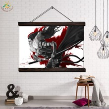 Girl Samurai Blood Sword Wall Art Canvas Prints Painting Scroll Poster Decorative Picture Print