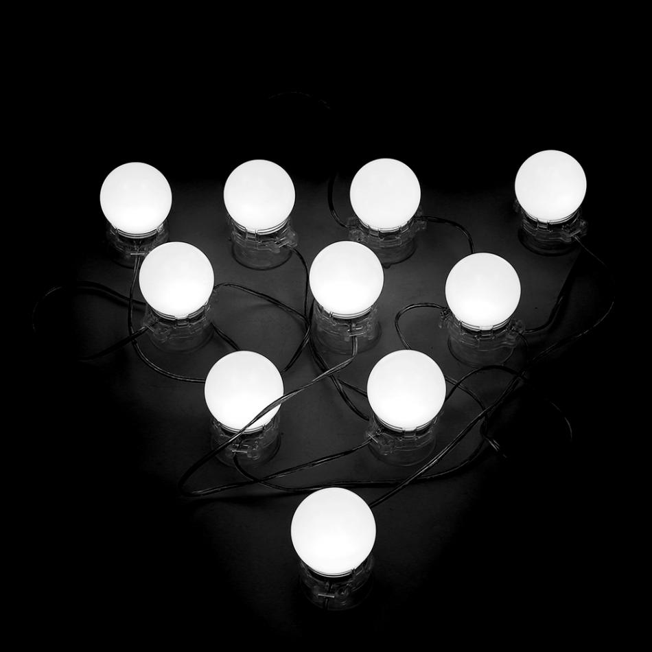 10Pcs LED Mirror Lights Kit Dimmable Lamp Bulbs for Makeup Dressing Table US Plug