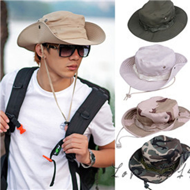 df51565f49b Military Camouflage Mens Bucket Hats Outdoor Fishing Hiking Boonie Snap Brim  Woodland Sun Hat Cap Woodland Camo New b7 SV003003
