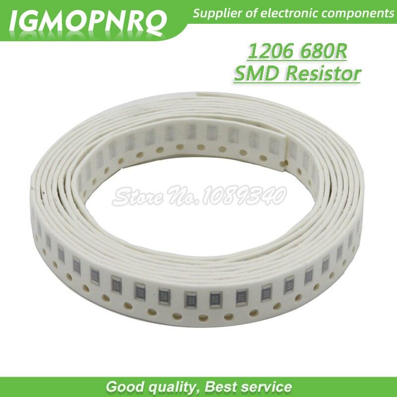 100PCS 1206 SMD Resistor 1% Resistance  680 Ohm Chip Resistor 0.25W 1/4W 680R 681 IGMOPNRQ