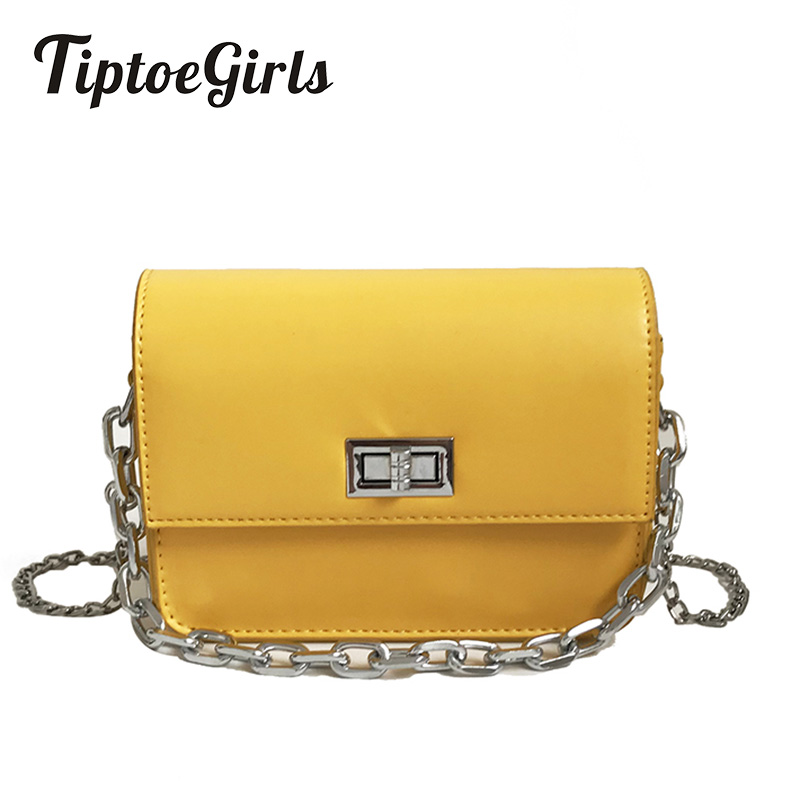 Lady's Hand Small Square Bag Summer New Fashion Pop Simple Candy Color Chain Bag Personality Turn Lock Shoulder Bag