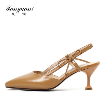 Fanyuan Women Leather Sandals Summer Elegant Pointed Toe Slingback Ladies Sandals Sweet Stiletto High Heels Mules Shoes sandalia