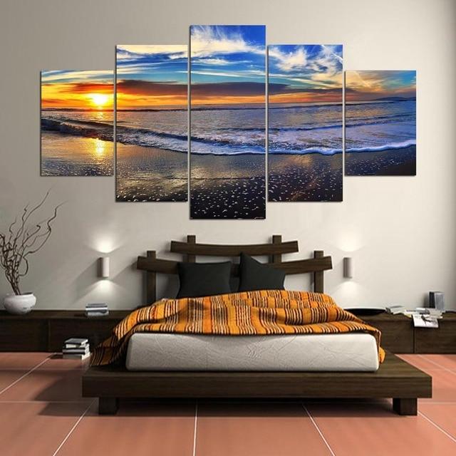 Erstaunlich 5 Bedienfeld Große Wand Landschaft Bild Moderne Kunst Malerei Leinwand  Strand Sonnenuntergang Kinderzimmer Wand Bilder Wohnkultur