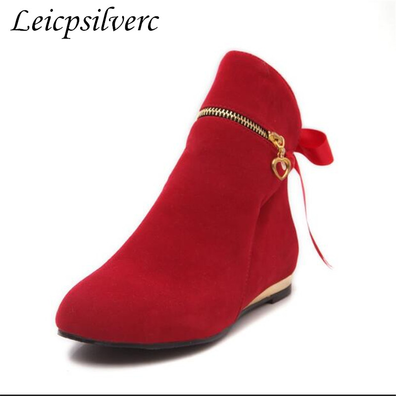New style  autumn winter boots suede bow shoes for women short round toe solid ankle boots New style  autumn winter boots suede bow shoes for women short round toe solid ankle boots