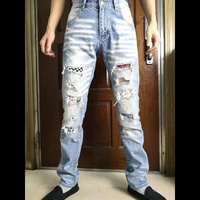 Men's Design Cool Jeans Slim Stretch Straight Denim Pants jean Men Ripped Elastic Skinny Motorcycle Man Jeans big size 29 42