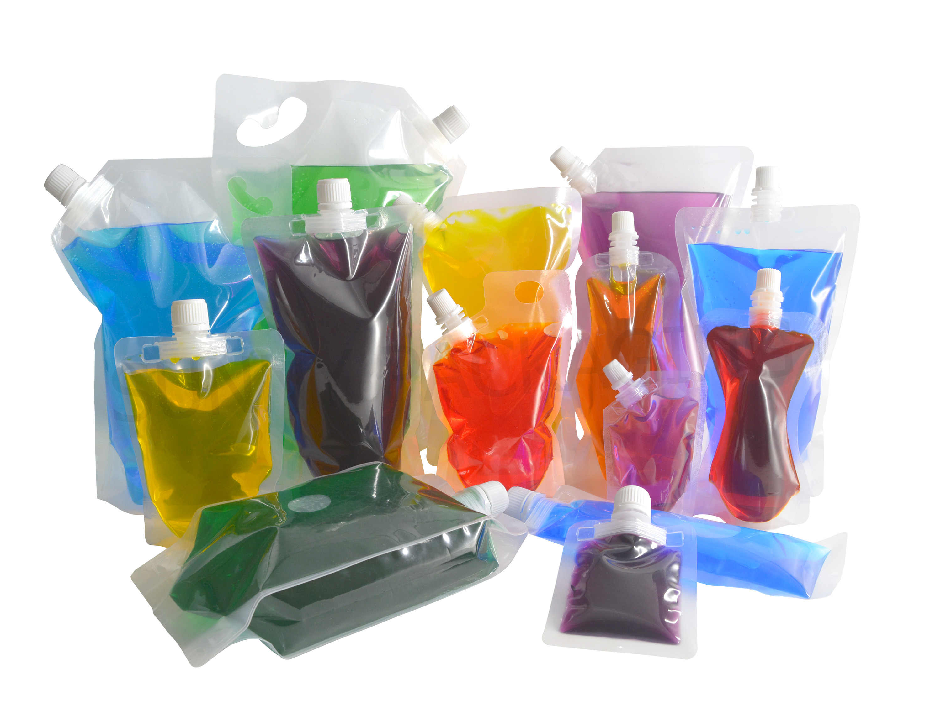 20 pcs Full Transparent Plastic Spout Pouch Juice Pouch,Wine Flask Pouch BPA Free Food Materials Storage Bags  30 ml-500 ml