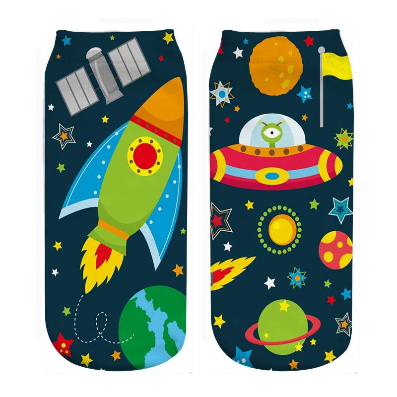 RUNNING CHICK Spaceship Space Print Kids Socks New Wholesales Dropship