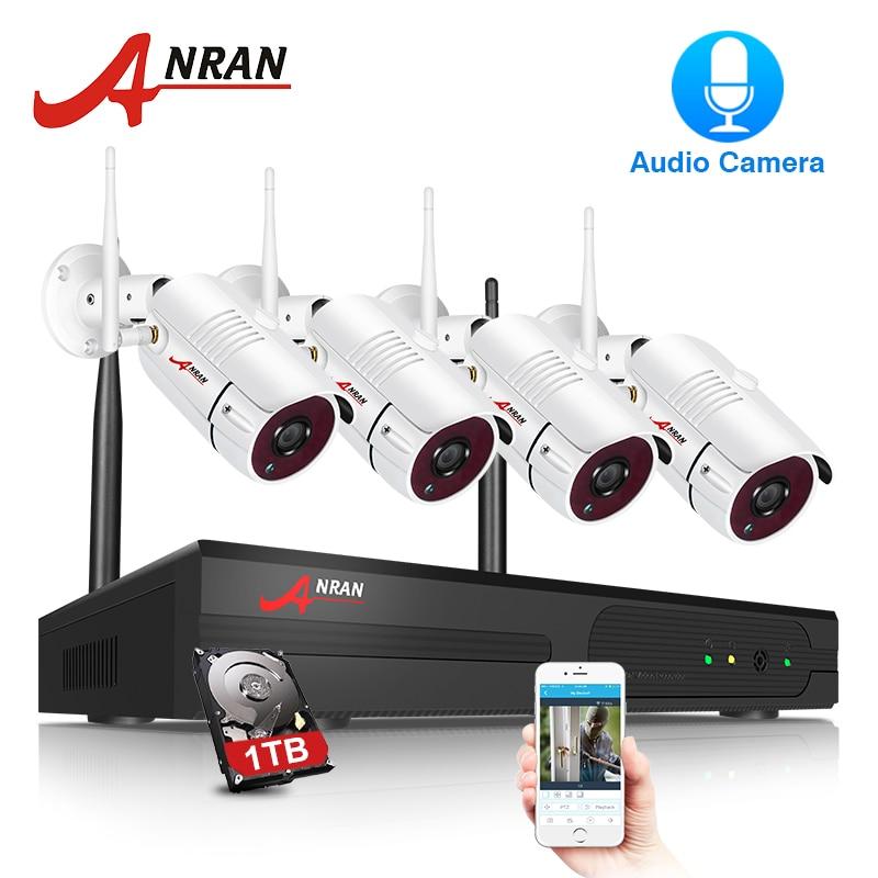 ANRAN CCTV камера системы Wi-Fi 1080 P NVR комплект 4CH 1080P HD IP камера Аудио запись открытый Ночное Видение безопасности системы