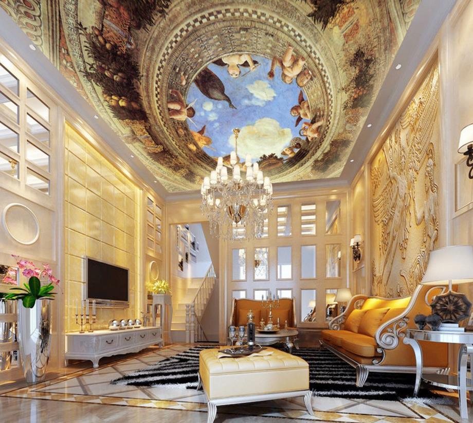 European Angel Ceiling 3d Mural Wall Decorations Living