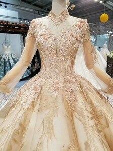 Image 4 - LS474110高級教徒のイブニングドレス長袖ハイネック3D花ゴールデンドバイ女性日のドレス送料無料