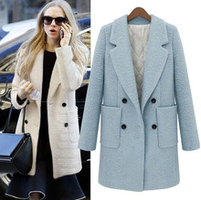 2016 European New Fashion Autumn Winter Medium Long Women's Jacket Coat Thickening Double Breasted Slim Wool Overcoat Outwear