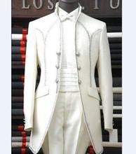 Custom Made Groomsmen Mandarin Lapel Groom Tuxedos Ivory Men Suits Wedding/Prom Best Man (Jacket+Pants+Tie+Hankerchief) C22