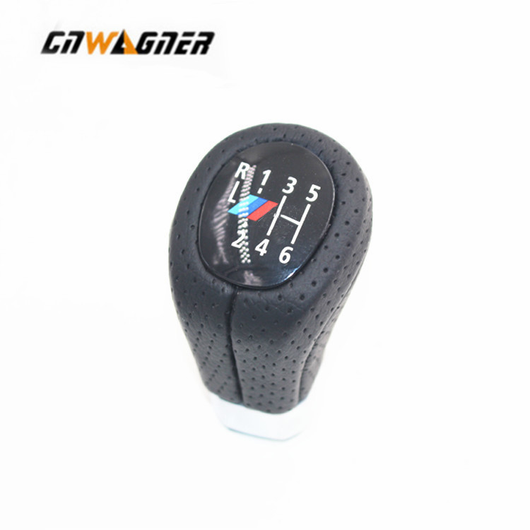 New Arrival Gear Shift Knob For BMW E87 E90 E92 X1 with M logo 5 gear 6 speed car gear lever Leather stick knobs 5 speed car gear shift knob transmission gear head handle shifter shift lever knobs