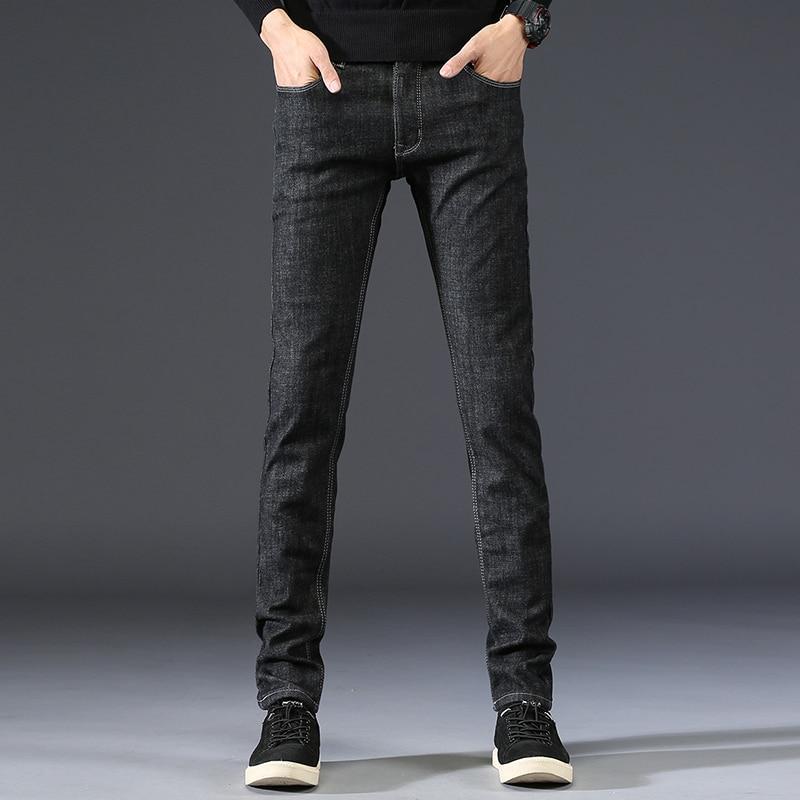 Men Denim Trousers Mens Solid Color Fashion New Brand Pants Male Black Plus Cashmere Slim Cotton Full Length Jeans Plus Size 36