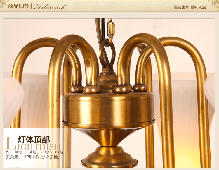 large glass lampshade gold brass chandelier led lampara for church - Indoor Lighting - Photo 4