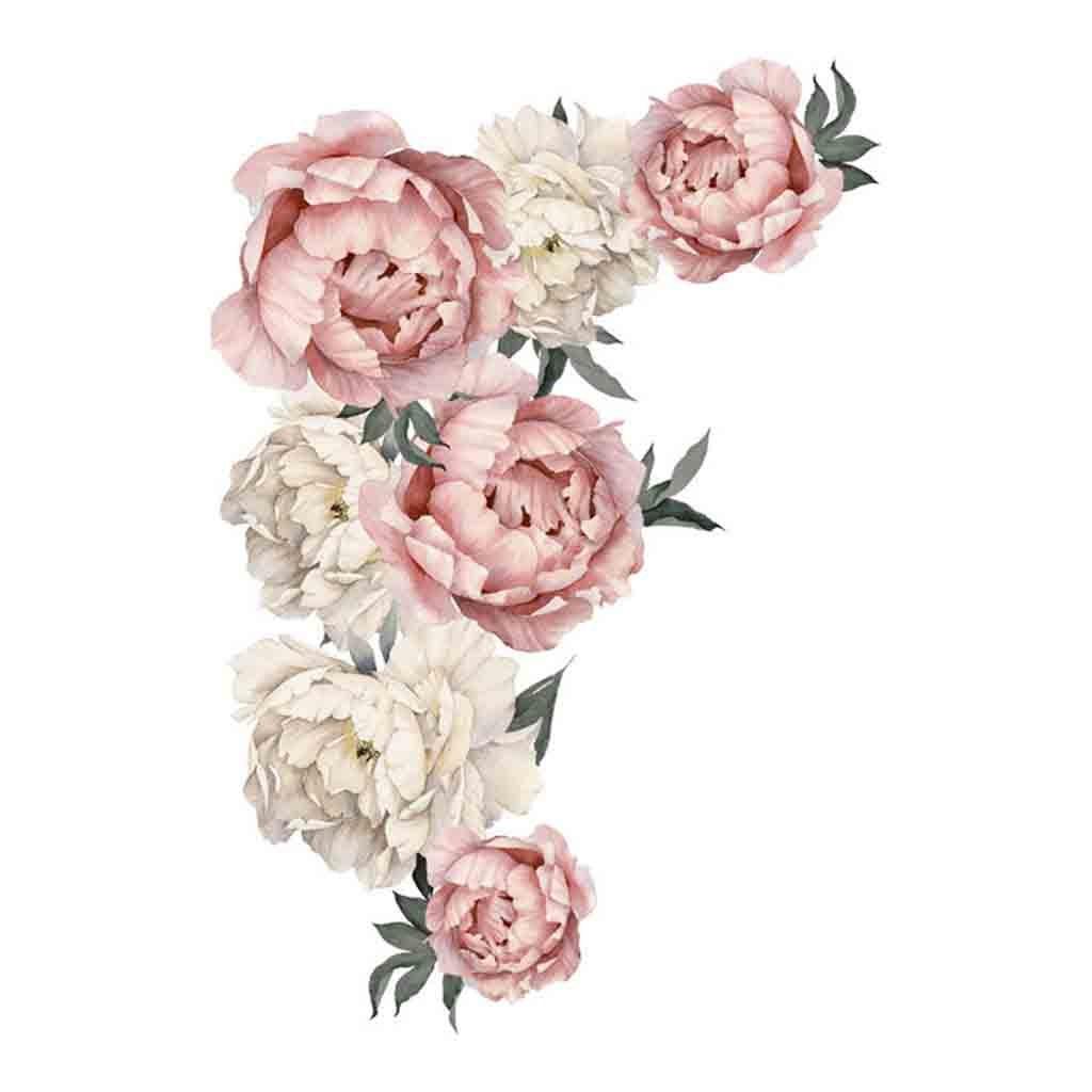 Лучший!  Пион Розы Цветы Стикер Стены Искусства Детская Наклейки Детская Комната Home Decor Подарок X7.19