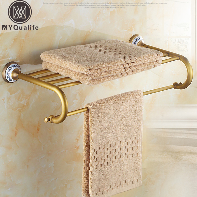 Antique Brass Wall Mount Hotel Bathroom Towel Rack Rail Brass Ceramic Bath Towel Shelf nail free foldable antique brass bath towel rack active bathroom towel holder double towel shelf with hooks bathroom accessories