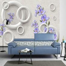 Home Improvement 3D Wallpaper for Walls 3d Decorative Wall Paper Background Painting Purple flowers circle 3d backdrop wallpaper