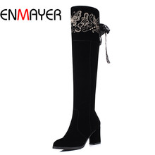 ENMAYER Suede Slim Boots Sexy Over the Knee High Women Snow Boots Women's Fashion Winter Square Heel High Boots Shoes Woman цена