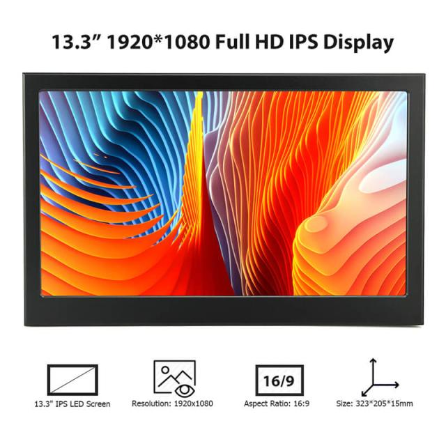 13.3 pouces 10 points tactile HDR Portable moniteur IPS jeu écran d'affichage Mac Mini Ps4 Xbox NS commutateur ordinateur Portable 1080 P HDMI