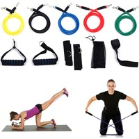 11pcs Fitness Resistance Bands Set With Workout Exercise Tubes Door Anchor Ankle Straps Handles For Legs