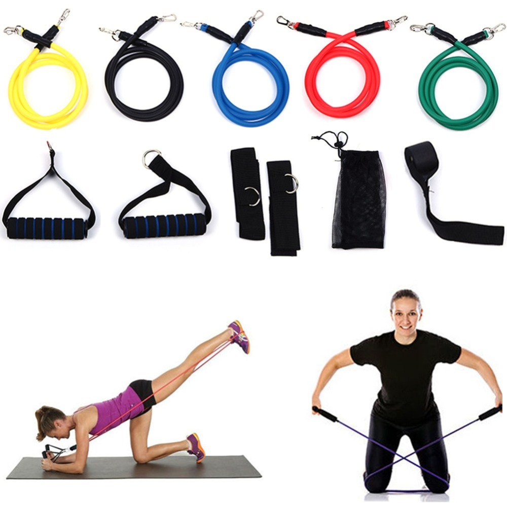 11pcs Fitness Resistance Bands Set With Workout Exercise Tubes Door Anchor Ankle Straps Handles For Legs Weight Loss-in Cycling Vest from Sports ...  sc 1 st  AliExpress.com & 11pcs Fitness Resistance Bands Set With Workout Exercise Tubes ...