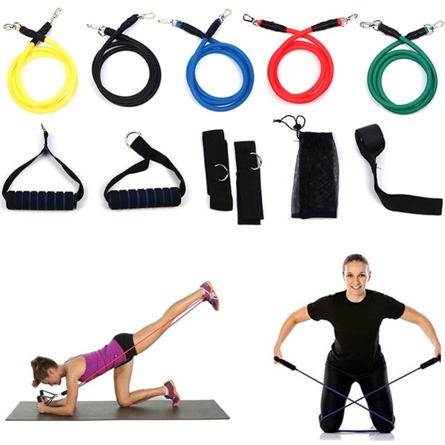 Fitness Bands With Handles: 11pcs Fitness Resistance Bands Set With Workout Exercise
