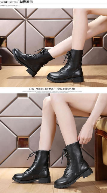 2019 New Buckle Winter Motorcycle Boots Women British Style Ankle Boots Gothic Punk Low Heel ankle Boot Women Shoe Plus Size 43 25