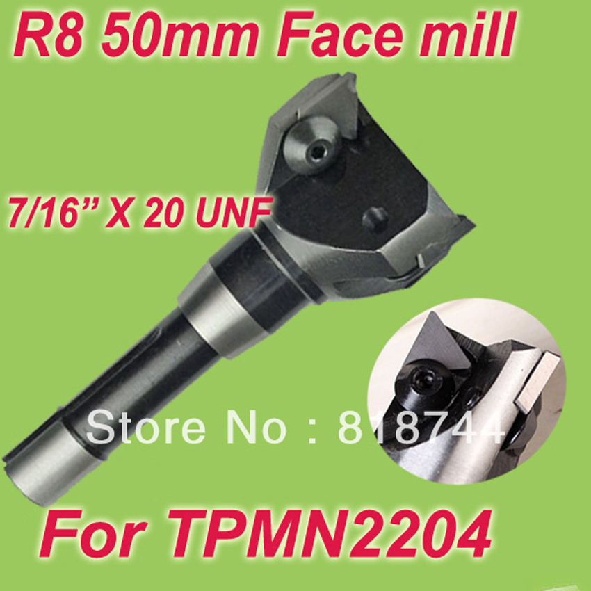 Free Shiping R8 7/16'' Size 2''  75 Degree Inserted Shoulder Cutter Face mill Holder 50mm With 3pcs Free TPMN2204  Inserts New
