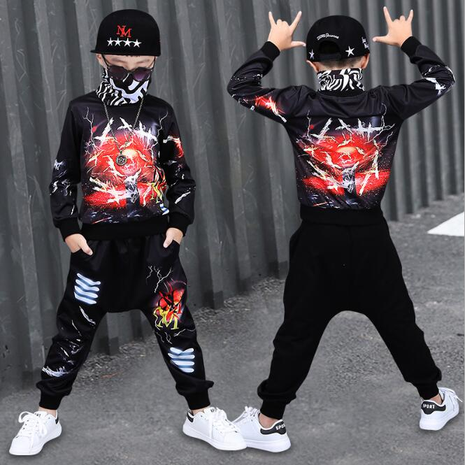 Boys Autumn Hip Hop Outfit Kids Streetwear Dance Costume Kids Boys Clothing Set for Spring 2018 New Style Boys Dancing Suit new kids boys page href