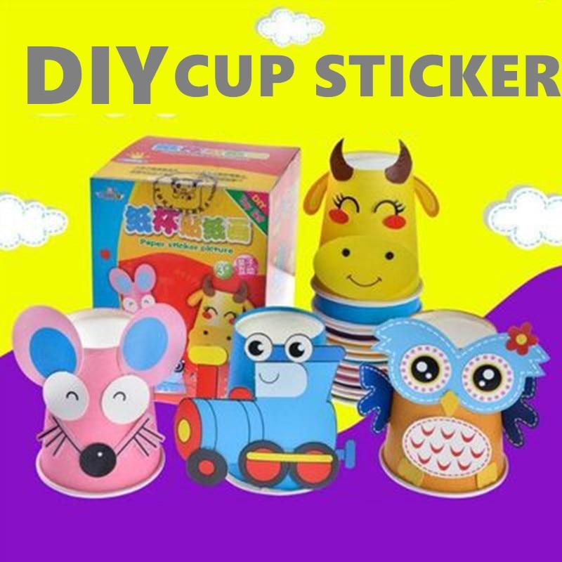12pcs Children 3D DIY Handmade Paper Cups Sticker Cartoon Animals Whole Set Kids Kindergarten School Art Craft Educational Toys