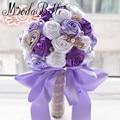 Purple Roses Wedding Bouquet Pearls Artificial Brooch Bouquet De Mariage Royal Blue Red Silk Satin Flower Crystal Bridal Bouquet
