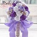 Roxo Rosas Buquê de Casamento Broche de Pérolas Artificial Bouquet De Mariage Royal Azul Vermelho De Cetim De Seda Flor de Cristal Bouquet De Noiva
