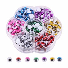 Not Self adhesive 8mm Doll Eyes With Eyelashes Of Mixed Color Of 500PCS For Doll Toy