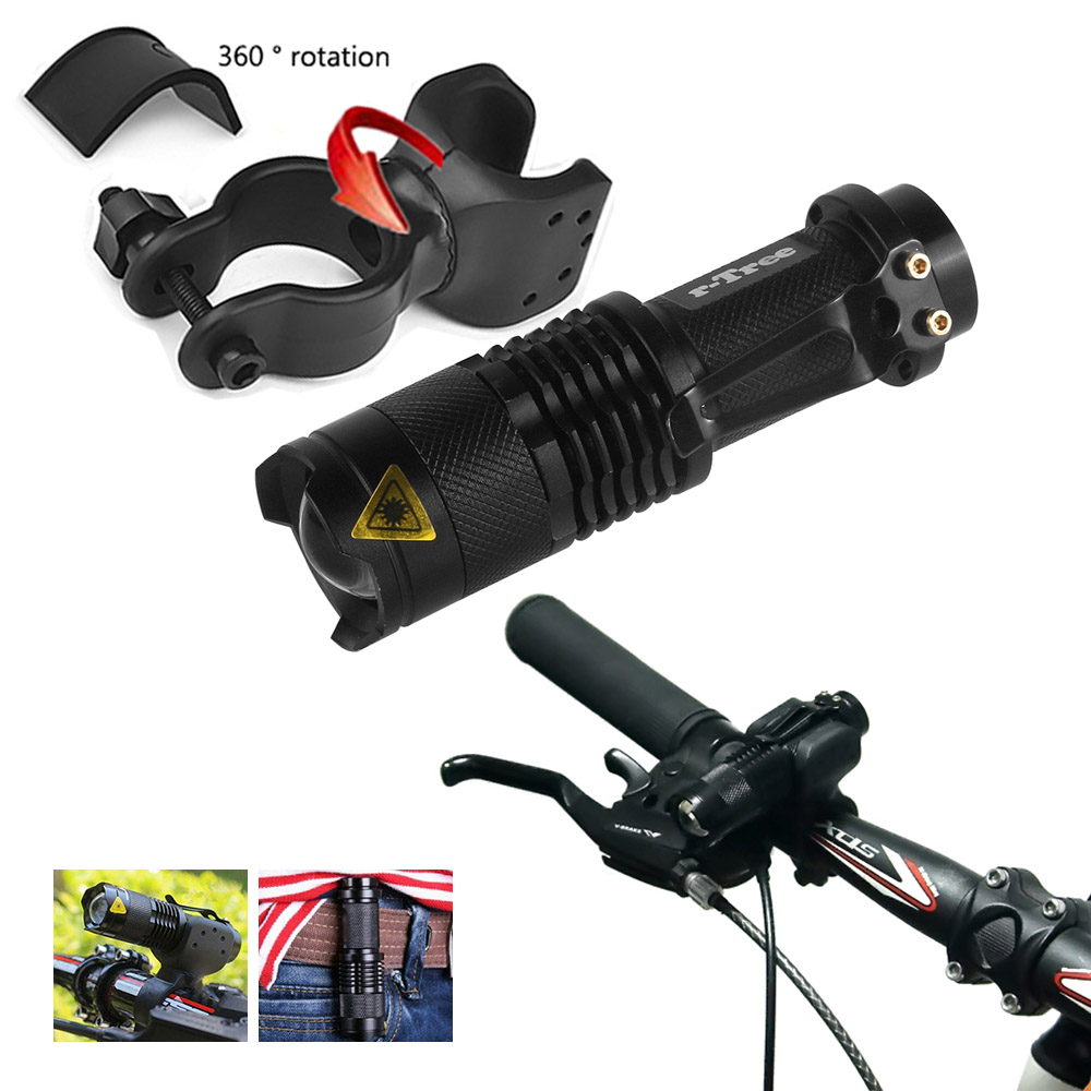 Waterproof Bicycle Front LED Light with ZOOM and flashlight 3