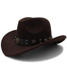 Женская и Мужская шерстяная ковбойская шляпа в западном стиле с закатывающимися полями для джентльмена, папы, джаза, конного спорта, сомбреро, Hombre, фетровая Кепка, размер 56-58 см