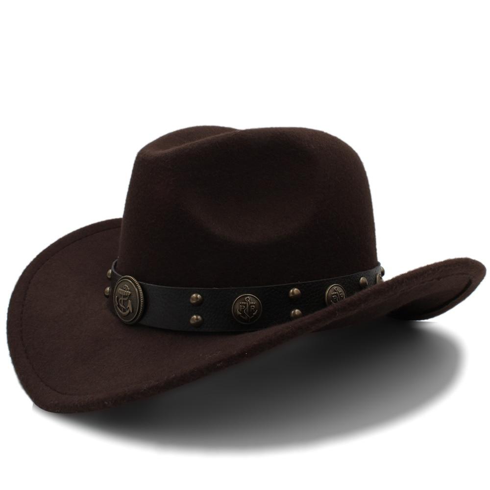 Women's Men Wool Western Cowboy Hat Roll-up Brim Gentleman Dad Jazz Equestrian Sombrero Hombre Fedora Cap Size 56-58CM