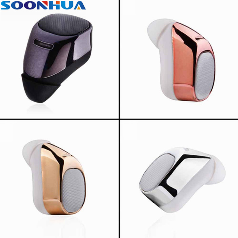 SOONHUA 2017 Hot Wireless Bluetooth Earphone Mini Hidden In-ear Earbuds HiFi Stereo Sports Headphone For iPhone Samsung Xiaomi
