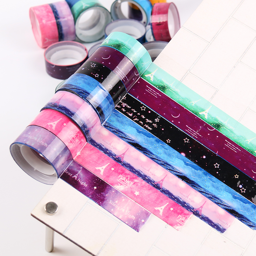 10 PCS/lot Starry Sky Washi Pvc Roll DIY Decor Scrapbooking Sticker Masking Tape Adhesive