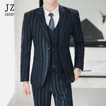 59e597cd9657a5 JZ CHIEF Wedding Suits voor Mannen Drie Stuk Bruidegom Pak Plaid Blazer Jas  Vest en Broek Tuxedo Mannen Jurk Past groen. Nieuw Binnen