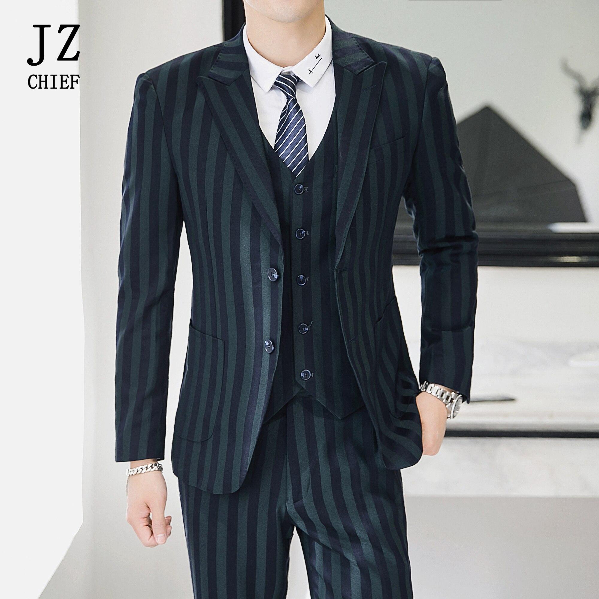 JZ CHIEF Wedding Suits for Men Three Piece Groom Suit Plaid Blazer Jacket Vest and Pants Tuxedo Men Dress Suits Green