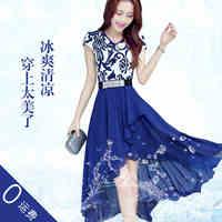 summer new women dress blue and white porcelain print v neck irregular length party vestidos chiffon dresses design clothes