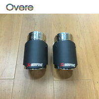Overe 1Set Carbon Fiber Akrapovic Car Exhaust Tip Muffler Pipe Cover For VW Tiguan 2016 For VW Tiguan 2017 Accessories