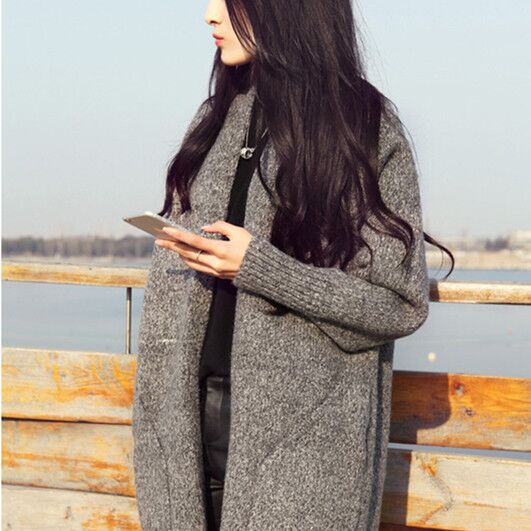 Europe Style Knitted Trench Coat Cardigans Sweaters 2019 Women Oversized Cardigan Vintage Sweaters Long Thin Cashmere OverCoat
