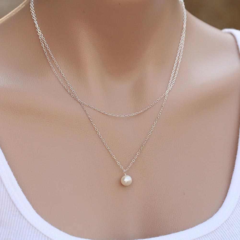 Gorący bubel mody podwójny łańcuch symulowane Pearl naszyjnik, V naszyjniki dla druhna prezenty