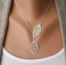 2017 New Vintage Big Leaf Pendant Necklace Clavicle Chain For Women fashion necklace Wedding Event Jewelry(China)