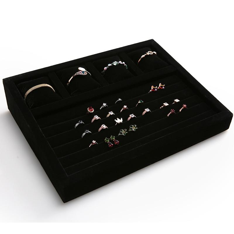 Grande taille velours noir 5 lignes anneau et plateaux d'oreiller qualité velours 4 fentes grilles bracelet anneau stockage plateaux d'oreiller GD2220
