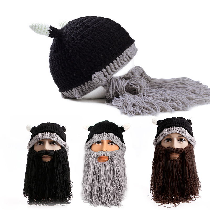 Unisex Adults Viking Beard Beanie Knit Hat Winter Warm Face Mask Hats airsoft adults cs field game skeleton warrior skull paintball mask