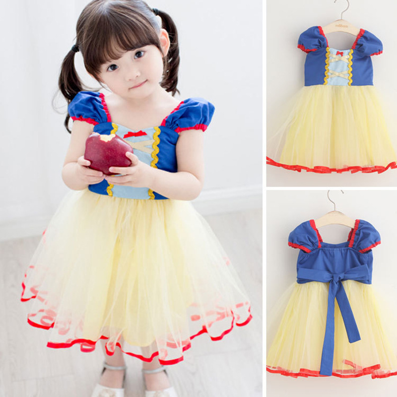 ФОТО Wholesale Girls Cosplay Princess Dress Voile Spring Summer Children Cartoon Clothes Cute Party Dresses Wholesale Free Shipping